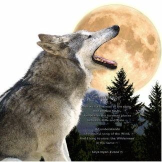 GREY WOLF MOON sculpted Wildlife Magnet Cut Outs