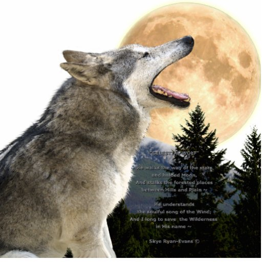 GREY WOLF & MOON (sculpted) Wildlife Magnet Photo Cutouts