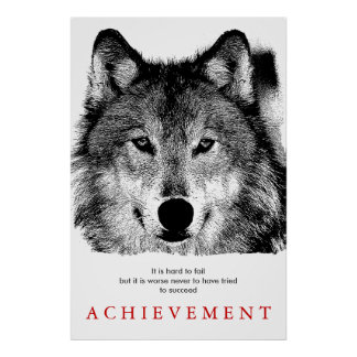 Grey Wolf Motivational Unique Creative Poster