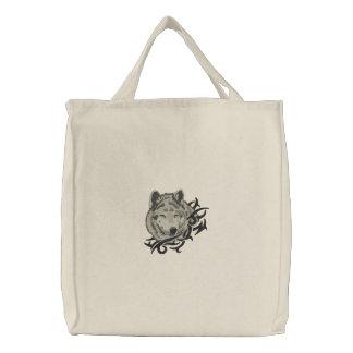 Grey Wolf Portrait Canvas Bag