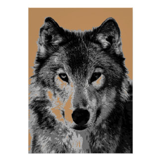 Grey Wolf Portrait Motivational Freedom Poster