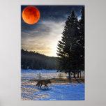 Grey Wolf, Snow, Blood Moon & Lake Wildlife Art Print