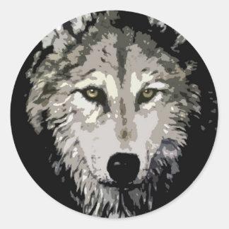 Grey Wolf Round Sticker