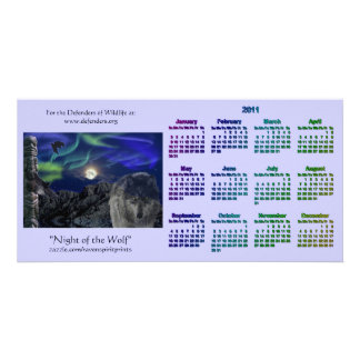 Grey Wolf & Totem Wildlife 2011 Pocket Calendars Picture Card