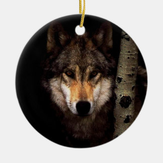 Grey wolf - wild wolf -  face wolf - forest wolf christmas ornament