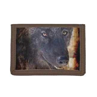 Grey Wolf Wildlife Photo design Tri-fold Wallets