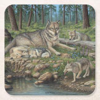 Grey Wolves Square Paper Coaster