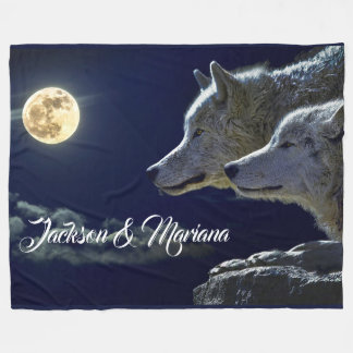 Grey Wolves Under a Full Moon Fleece Blanket