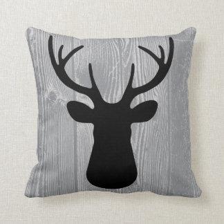 Grey Wood Black Deer Pillow