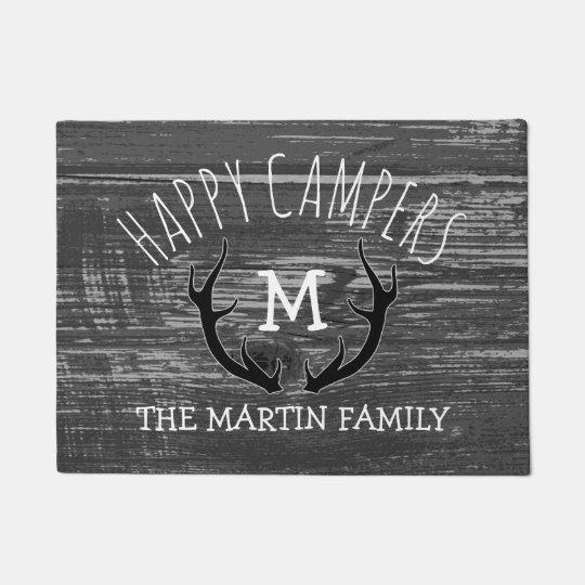 Grey Wood Deer Antlers Family Name Happy Campers