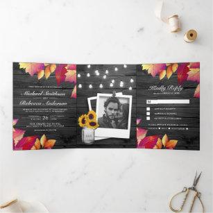 Grey Wood Fall Autumn Leaves All in One Wedding Tri-Fold Invitation