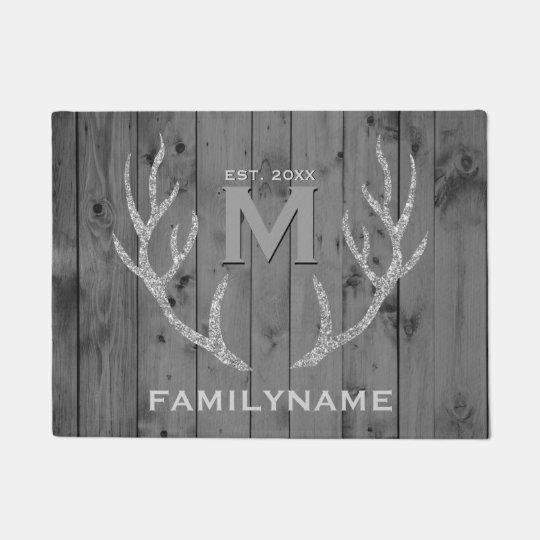 Grey Wood Glitter Deer Antlers Family Monogram Doormat