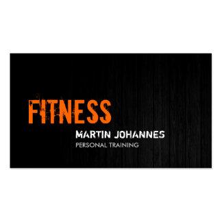 Grey Wood Orange Personal Trainer Business Card
