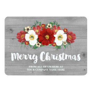 Grey Wood Red Floral Christmas Cards Business