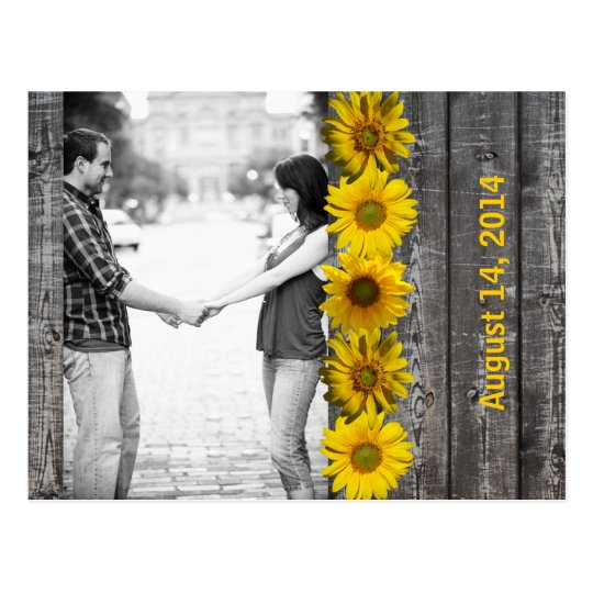 Grey Wood Yellow Sunflower Photo Save the Date