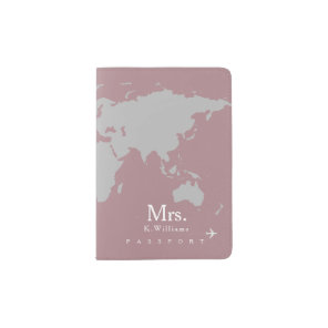 grey world map on dusty_rose with Mrs. name Passport Holder