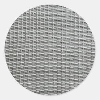 Grey woven webbing background round sticker