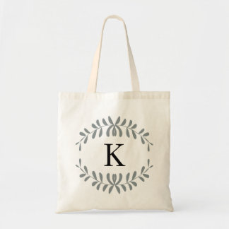 Grey Wreath Personalized Monogram Budget Tote Bag