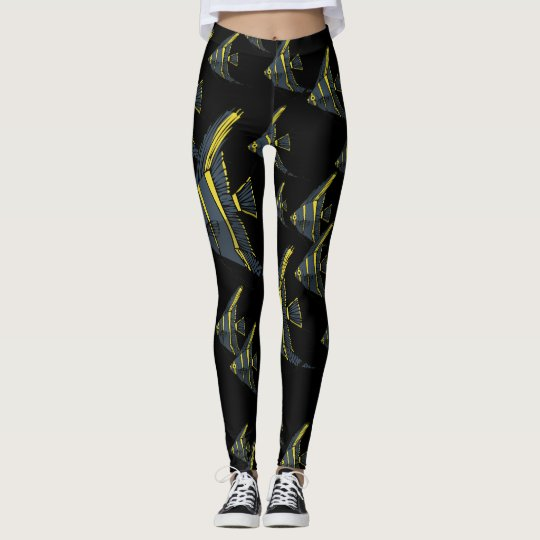 Grey & Yellow Angelfish Leggings