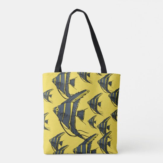 Grey & Yellow Angelfish Tote Bag