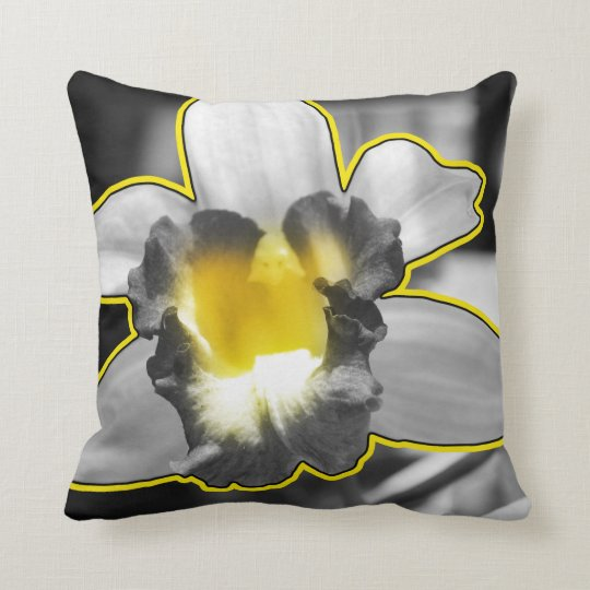 Grey Yellow Black White Orchid Cushion