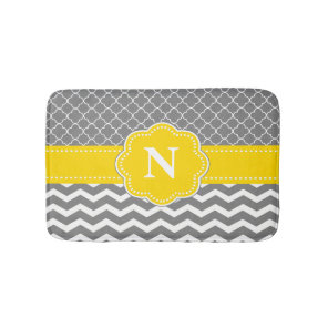 Grey Yellow Chevron Monogram Bathmat