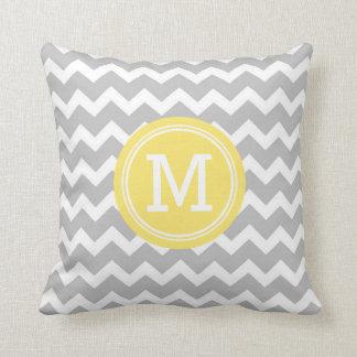 Grey Yellow Chevron Monogram Decorative Pillow