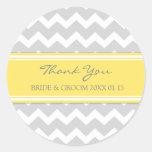 Grey Yellow Chevron Thank You Wedding Favour Tags Round Sticker