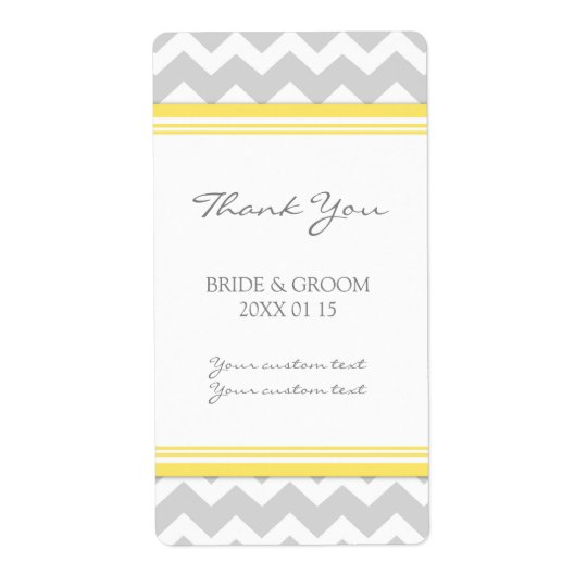 Grey Yellow Chevron Wedding Labels