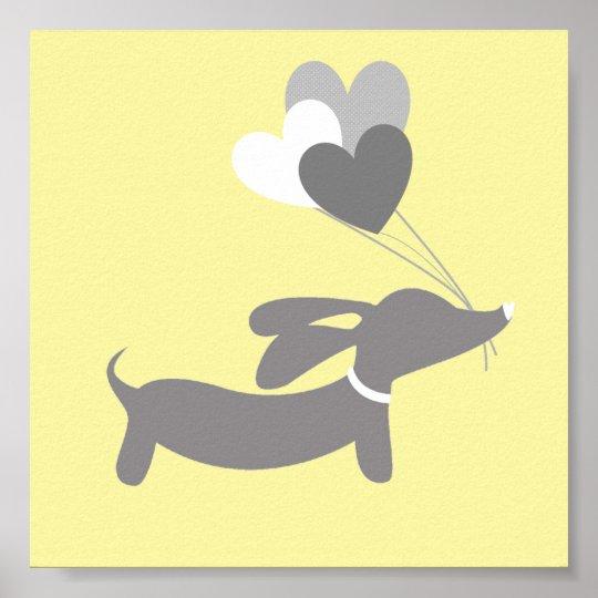 Grey & Yellow Dachshund Nursery Art with Hearts
