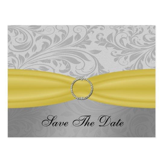 Grey Yellow  FAUX ribbon diamante buckle Wedding Postcard