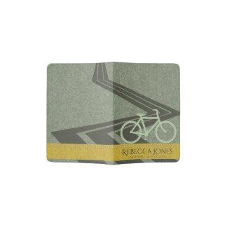 GREY YELLOW FELT PATCHWORK BIKE BICYCLE MONOGRAM PASSPORT HOLDER