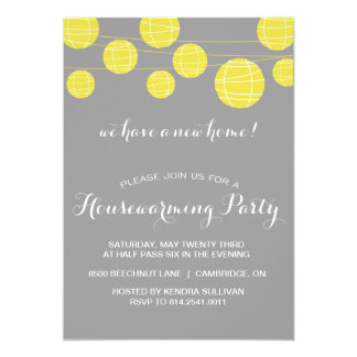 GREY YELLOW LANTERNS HOUSEWARMING PARTY INVITATION