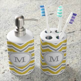 Grey Yellow Monogram Chevron Bath Set