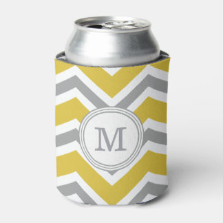 Grey Yellow Monogram Chevron Can Holder Can Cooler