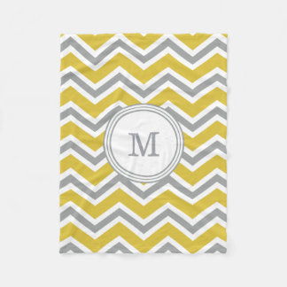 Grey Yellow Monogram Chevron Fleece Blanket