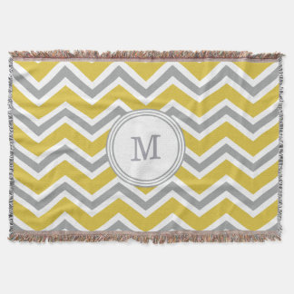 Grey Yellow Monogram Chevron Throw Blanket
