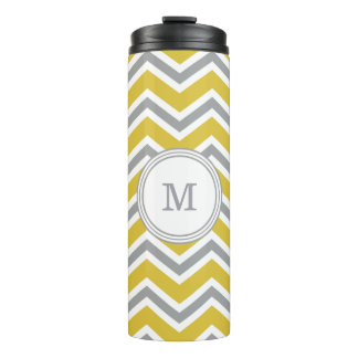 Grey Yellow Monogram Chevron Tumbler