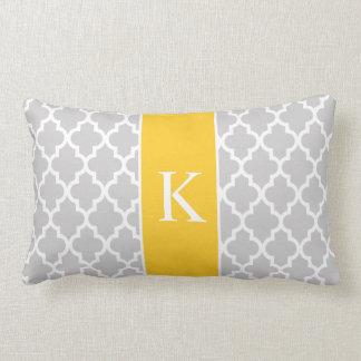 Grey Yellow Moroccan Custom Monogram Lumbar Cushion