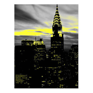 Grey Yellow New York City Night Postcard