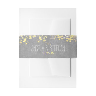 grey yellow string lights wedding invitation belly band