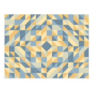 Grey Yellow Triangle Pattern Postcard