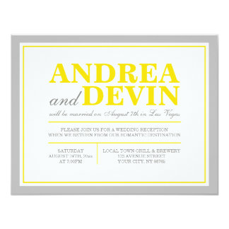 Grey & Yellow Wedding Reception ONLY Invitations