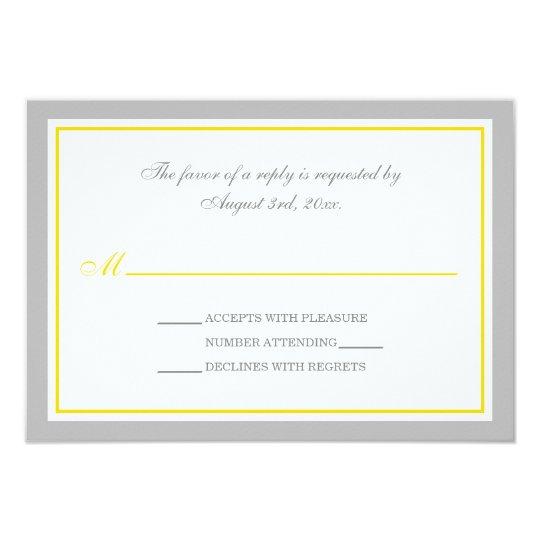 Grey & Yellow Wedding Reception RSVP Cards