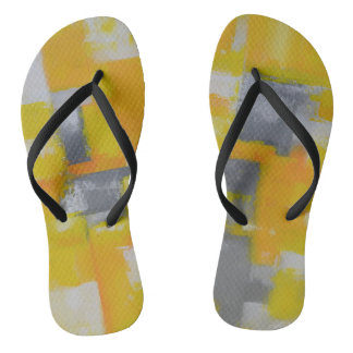 grey yellow white abstract art painting flip flops