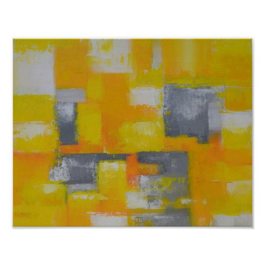 grey yellow white abstract art painting poster