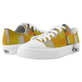 grey yellow white abstract art painting printed shoes