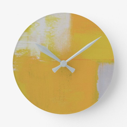 grey yellow white abstract art painting round clock