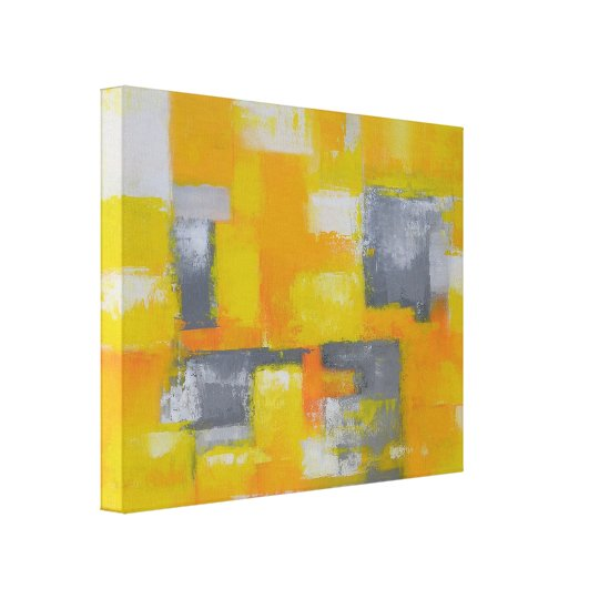 grey yellow white modern abstract painting canvas print