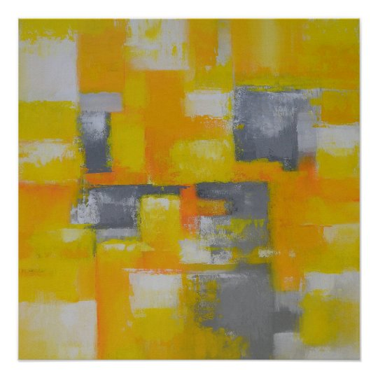 grey yellow white modern abstract painting poster